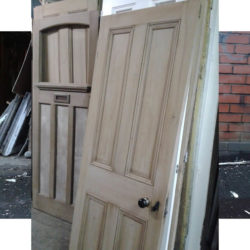 collection of doors that have been paint stripped